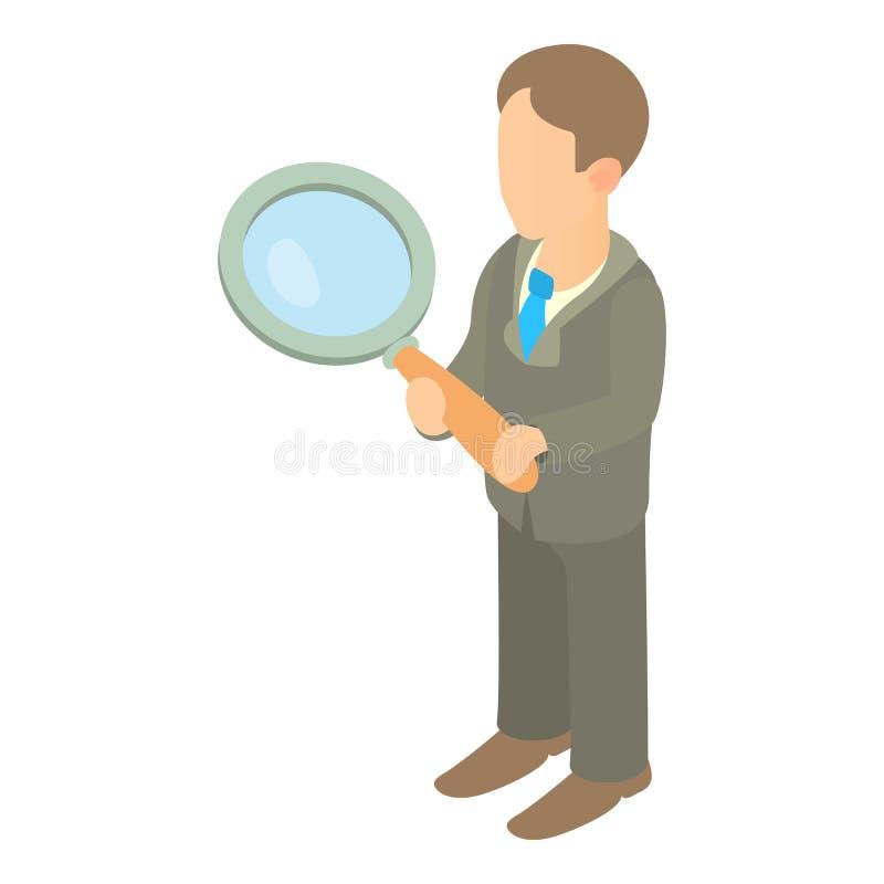 Homem de negócios que guarda o ícone da lupa ilustração do vetor