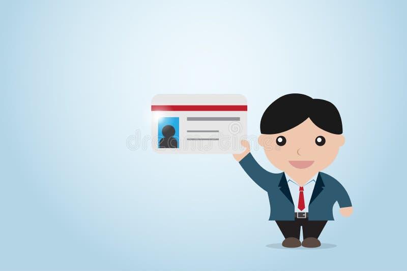 Homem de negócios que guarda o cartão, introduzindo o conceito ilustração stock