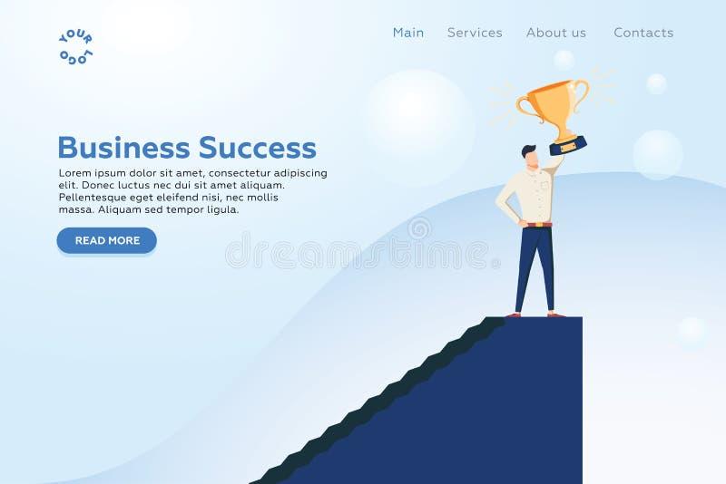 Homem de negócios que guarda o conceito do vetor do copo dourado Símbolo do poder do negócio, força, liderança, sucesso, visão ilustração stock