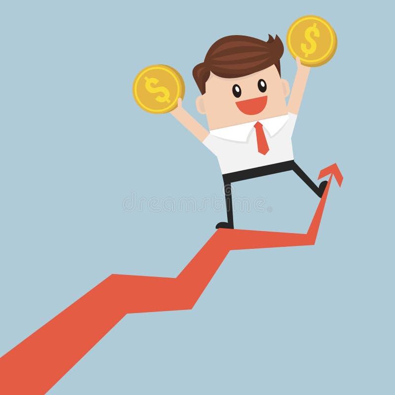 Homem de negócios que guarda o dinheiro no gráfico crescente ilustração royalty free