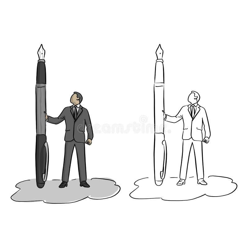 Homem de negócios que guarda o esboço grande da ilustração do vetor da pena de fonte ilustração royalty free