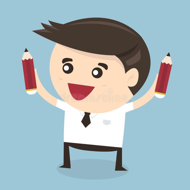 Homem de negócios que guarda o lápis Projeto liso ilustração stock