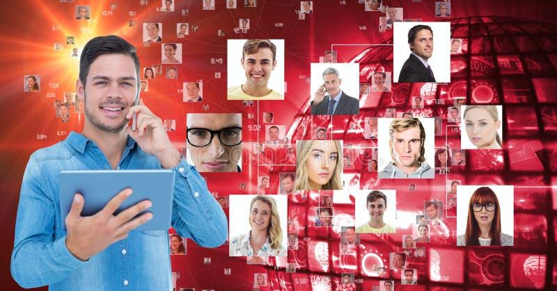 Homem de negócios que guarda o PC da tabuleta ao usar o telefone celular contra retratos ilustração stock