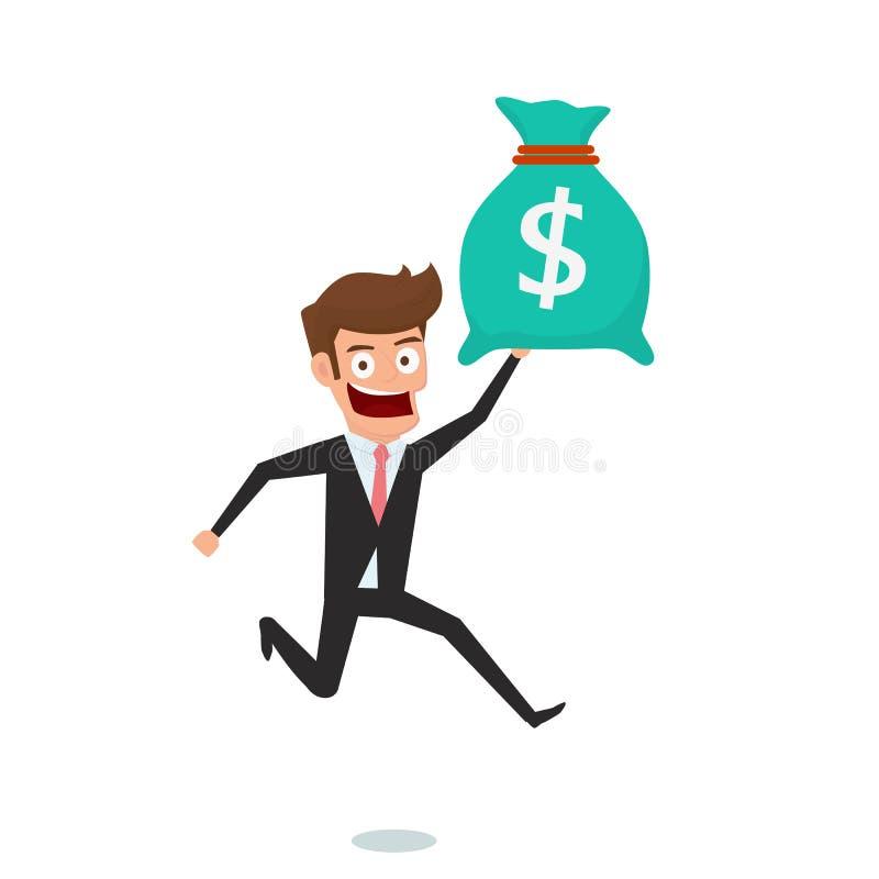 Homem de negócios que guarda o saco do dinheiro O conceito do dinheiro do salário e obtém o bônus ilustração royalty free