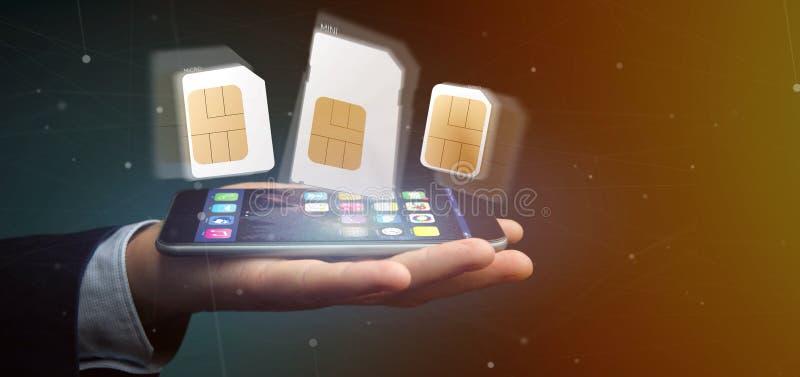 Homem de negócios que guarda o tamanho diferente de um cartão 3d r do sim do smartphone imagem de stock