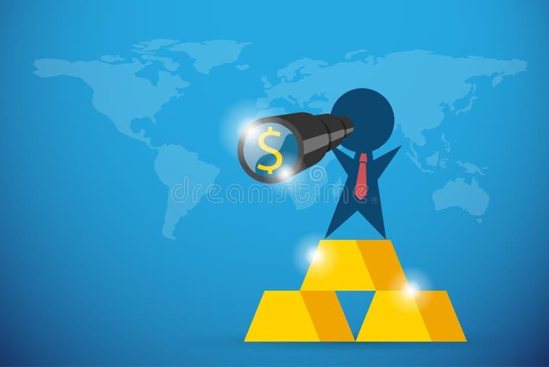 Homem de negócios que guarda o telescópio com símbolo do dólar e o suporte em barras de ouro, em visão e em conceito do negócio ilustração royalty free