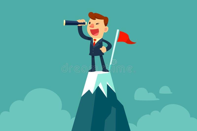Homem de negócios que guarda o telescópio pequeno sobre a montanha ilustração do vetor