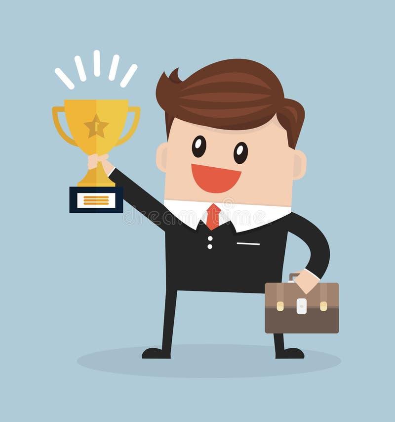 Homem de negócios que guarda o troféu de vencimento, estilo liso do projeto do illustion do vetor ilustração do vetor