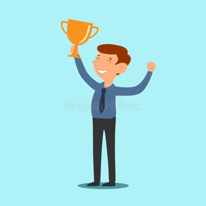 Homem de negócios que guarda o vetor bem sucedido do projeto dos desenhos animados do vencedor do troféu ilustração do vetor