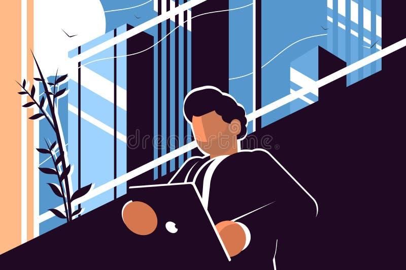 Homem de negócios que guarda a tabuleta ilustração stock