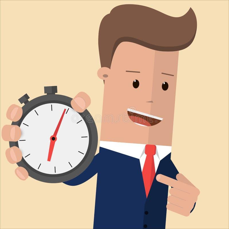Homem de negócios que guarda um cronômetro que aponta nele com seu dedo Conceito da gestão de tempo Controle de tempo, planeando  ilustração royalty free