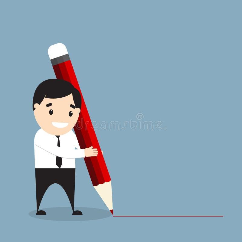 Homem de negócios que guarda um lápis vermelho gigante e que tira uma linha ilustração do vetor