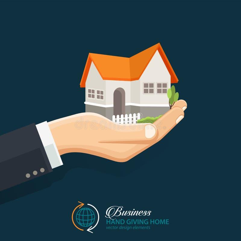Homem de negócios que guarda uma casa Negócio dos bens imobiliários ilustração royalty free