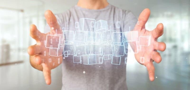 Homem de negócios que guarda uma nuvem do cubo do blockchain e dos dados binários 3 imagem de stock