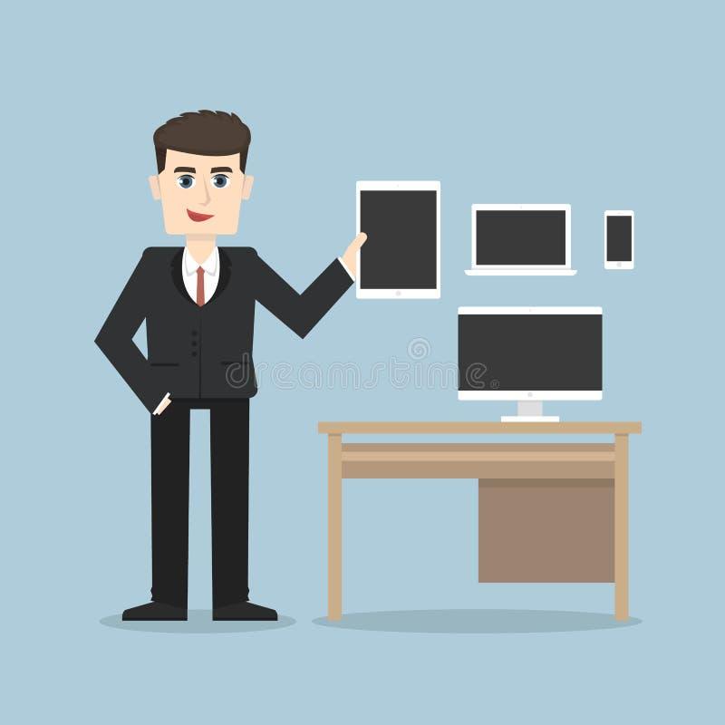 Homem de negócios que guarda uma tabuleta, um smartphone e um portátil ilustração stock