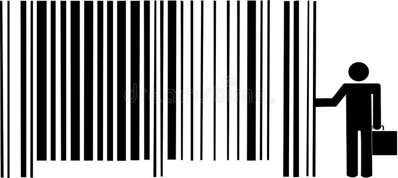 Homem de negócios que inclina-se no código de barras ilustração royalty free