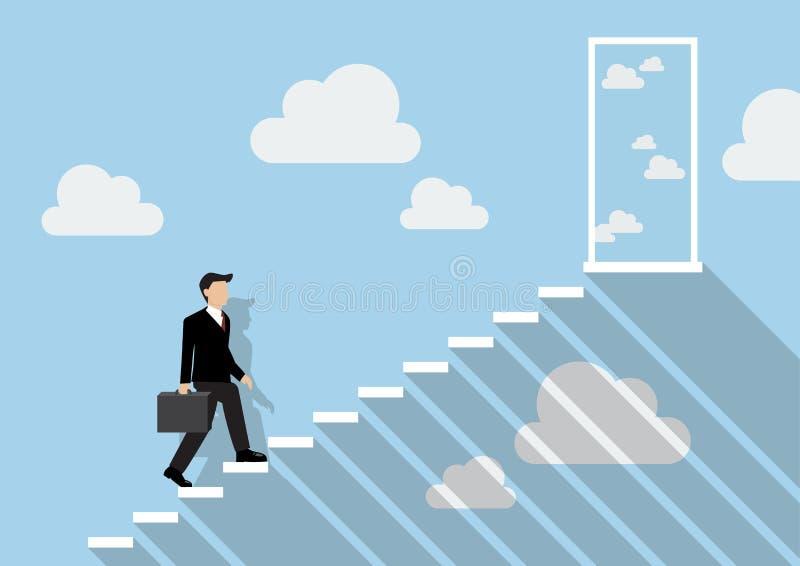 Homem de negócios que intensifica uma escadaria ao céu real ilustração do vetor