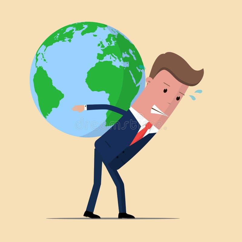Homem de negócios que leva o globo enorme do mundo no seu para trás Liderança do negócio e conceito da responsabilidade Ilustraçã ilustração do vetor