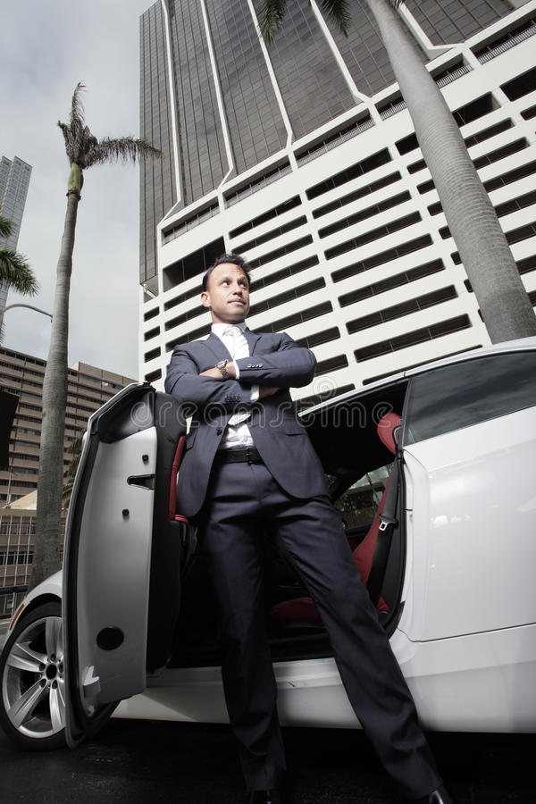 Homem de negócios que levanta por seu carro imagens de stock