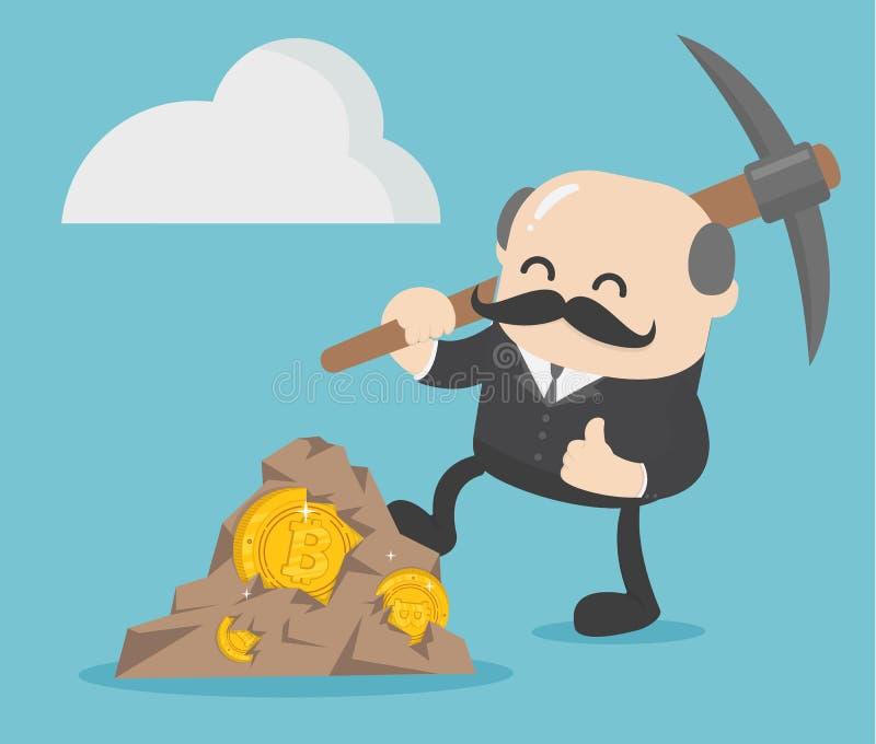 homem de negócios que máquina escavadora do bitcoin com sucesso ilustração royalty free