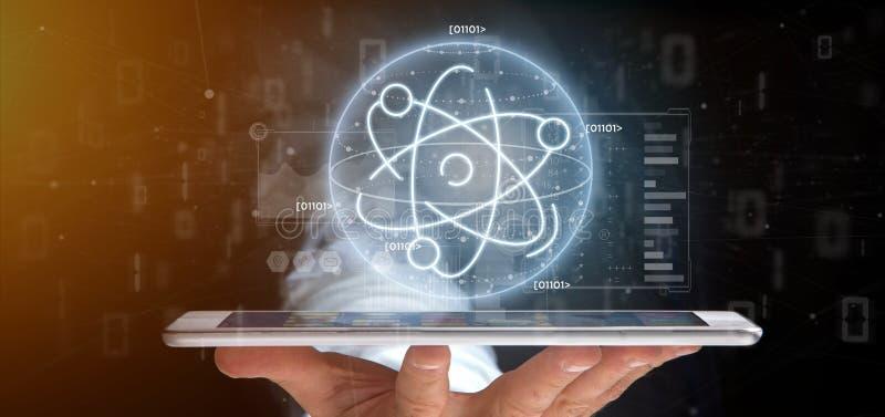 Homem de negócios que mantém um ícone do átomo cercado por dados imagem de stock royalty free