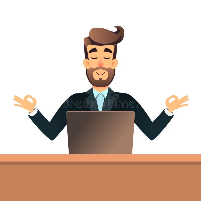 Homem de negócios que medita na pose dos lótus para a tabela no escritório com portátil O homem de negócio obtém a calma no local ilustração royalty free