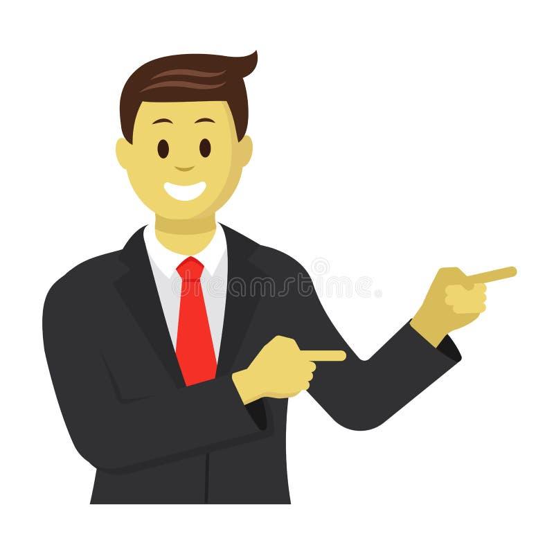 Homem de negócios que mostra algo ao lado dele Retrato do homem de negócios em uma ilustração lisa do vetor do estilo ilustração royalty free