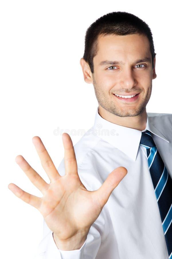 Homem de negócios que mostra cinco dedos fotografia de stock