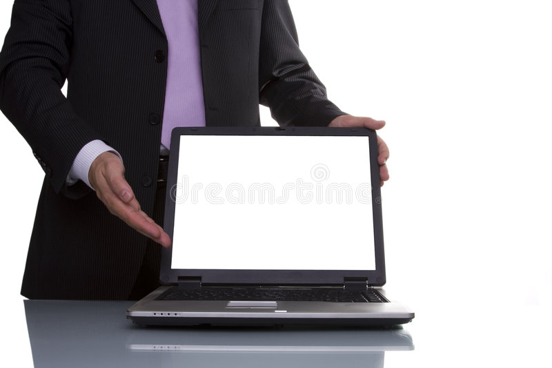 Homem de negócios que mostra dados imagens de stock