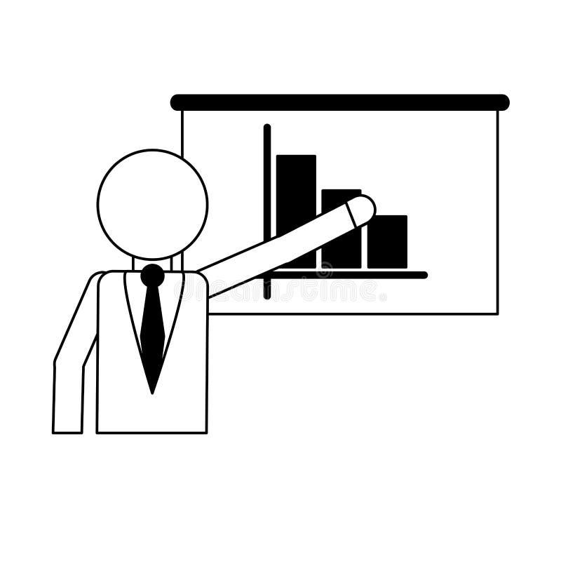 Homem de negócios que mostra estatísticas no whiteboard preto e branco ilustração do vetor
