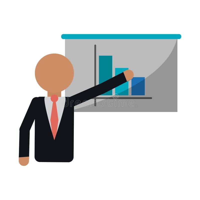Homem de negócios que mostra estatísticas no whiteboard ilustração do vetor