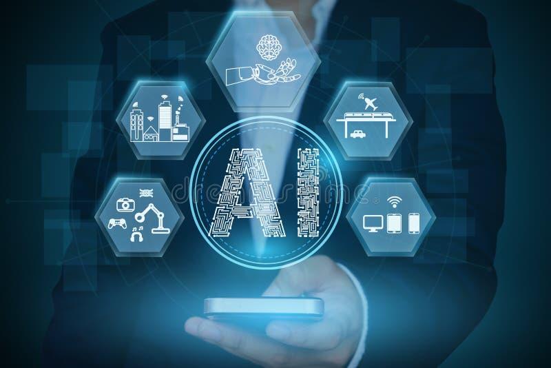 Homem de negócios que mostra o conceito da inteligência artificial com relacionado fotos de stock