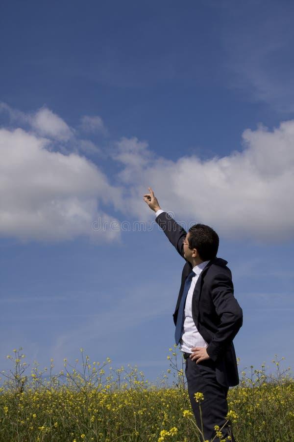 Homem de negócios que mostra o futuro imagens de stock royalty free