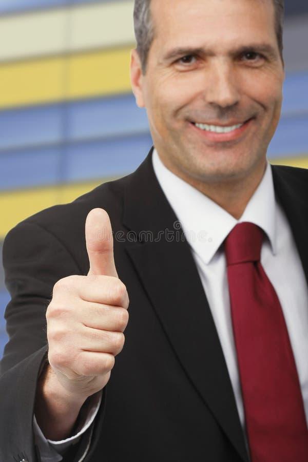 Download Homem De Negócios Que Mostra O Sinal Do Thumbs-up Imagem de Stock - Imagem de feliz, pessoa: 16866251