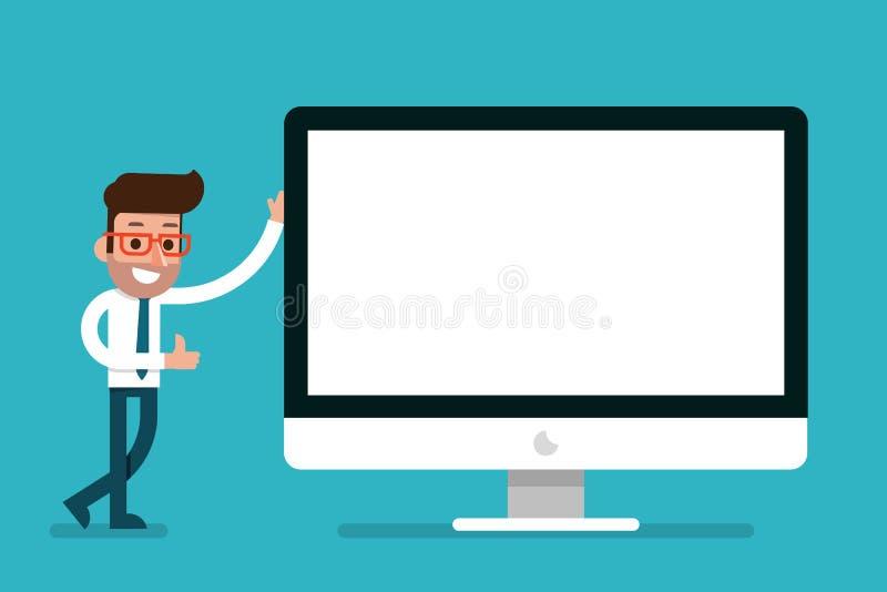 Homem de negócios que mostra o tela de computador moderno vazio ilustração do vetor