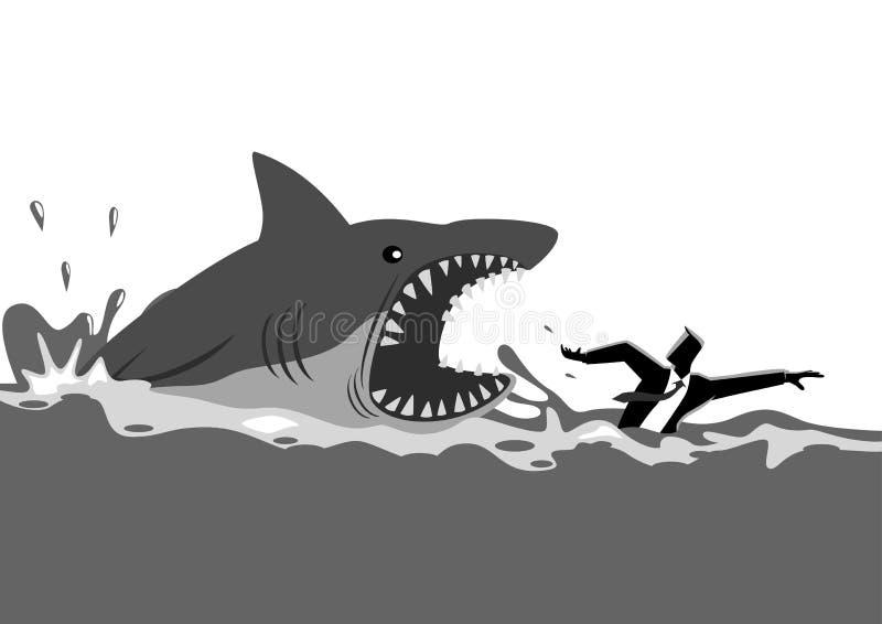 Homem de negócios que nada panicly evitando ataques do tubarão ilustração do vetor
