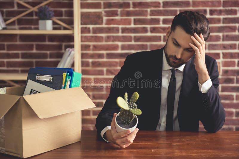 Homem de negócios que obtém ateado fogo imagens de stock royalty free