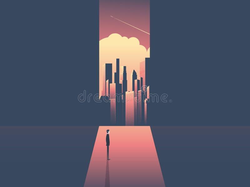 Homem de negócios que olha através da janela na skyline urbana Ambição do negócio, oportunidade e vetor incorporado do conceito d ilustração do vetor