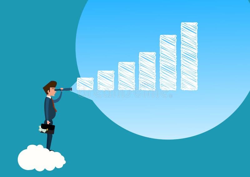 Homem de negócios que olha através do telescópio para o mercado de valores de ação do gráfico do crescimento ao futuro ilustração stock