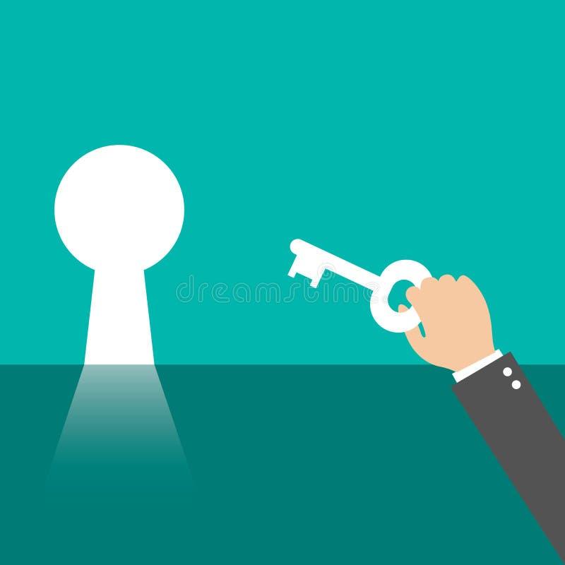 Homem de negócios que olha a chave ao sucesso, conceito do negócio ilustração stock