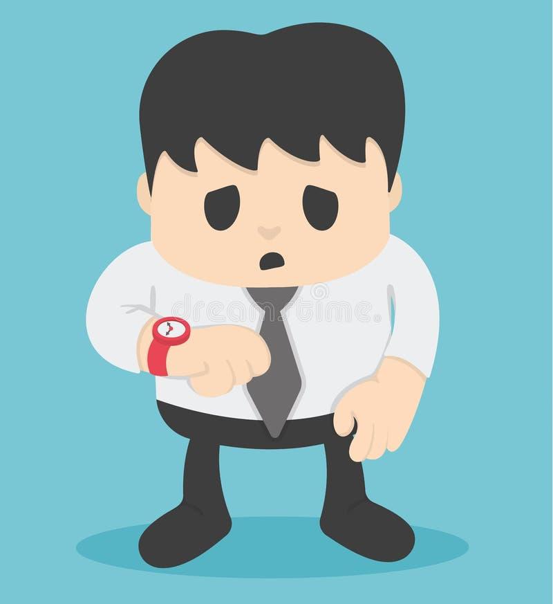 Homem de negócios que olha a espera do pulso de disparo demorada ilustração do vetor