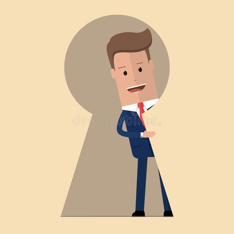 Homem de negócios que olha fora do buraco da fechadura gigante com curiosidade Metáfora da pessoa chave, da solução do problema e ilustração royalty free
