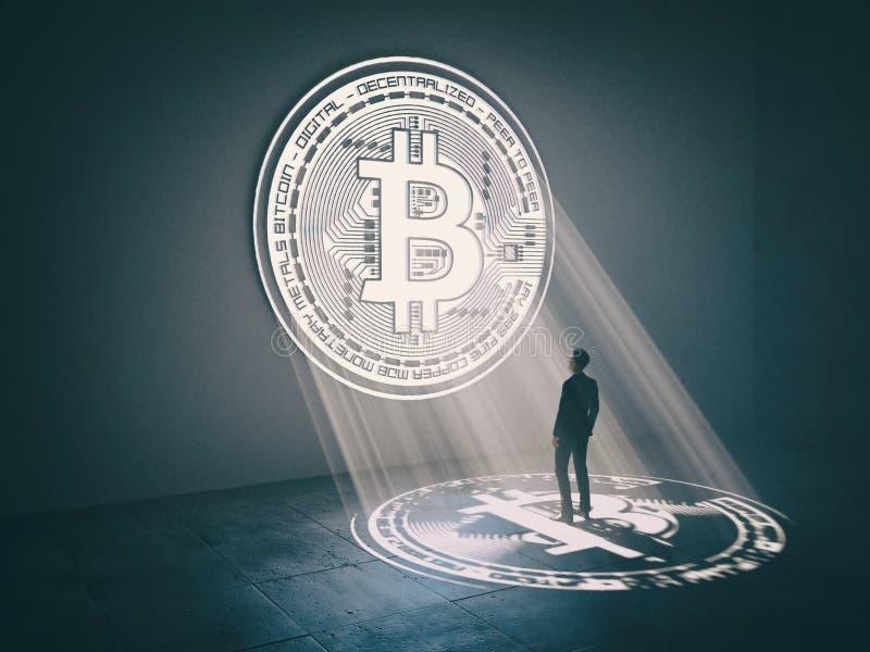 Homem de negócios que olha na janela no formulário do símbolo do bitcoin ilustração stock