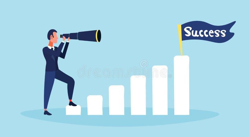 Homem de negócios que olha o azul liso do personagem de banda desenhada do homem do conceito binocular da estratégia da bandeira  ilustração royalty free