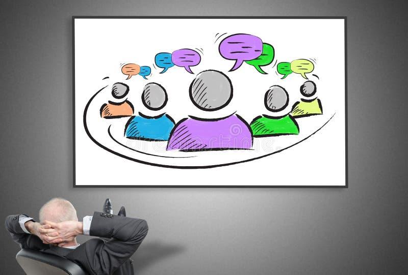 Homem de negócios que olha o conceito da liderança ilustração stock