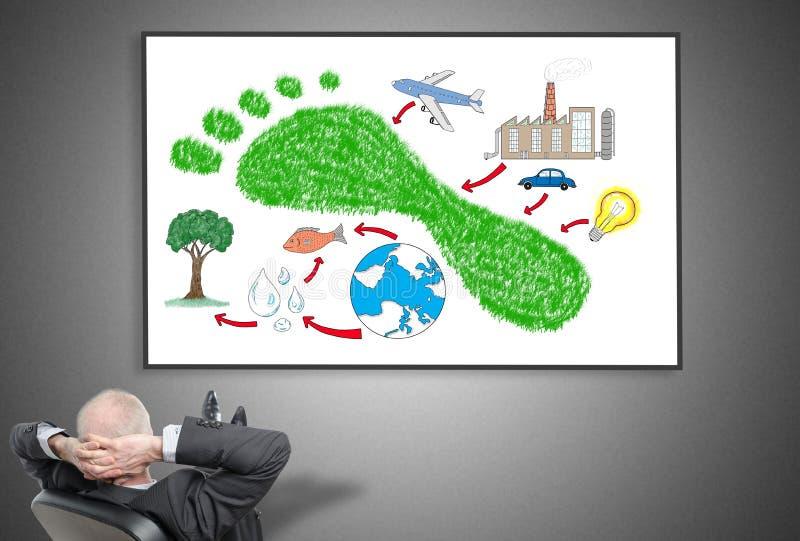 Homem de negócios que olha o conceito da pegada do carbono ilustração stock