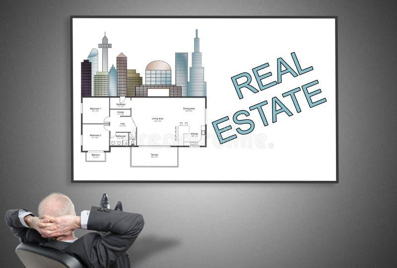 Homem de negócios que olha o conceito dos bens imobiliários ilustração do vetor