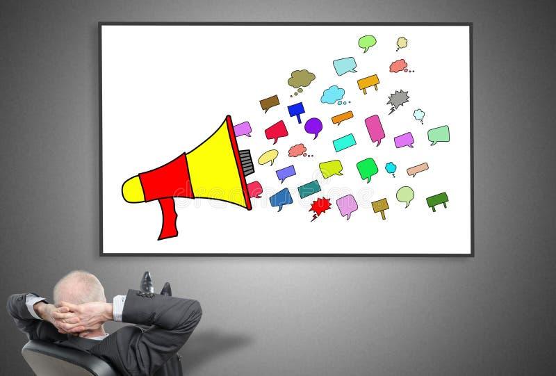 Homem de negócios que olha o conceito de uma comunicação ilustração royalty free