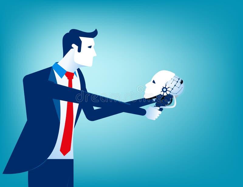 Homem de negócios que olha o crânio do robô à disposição Ilustração do vetor da tecnologia do conceito ilustração do vetor