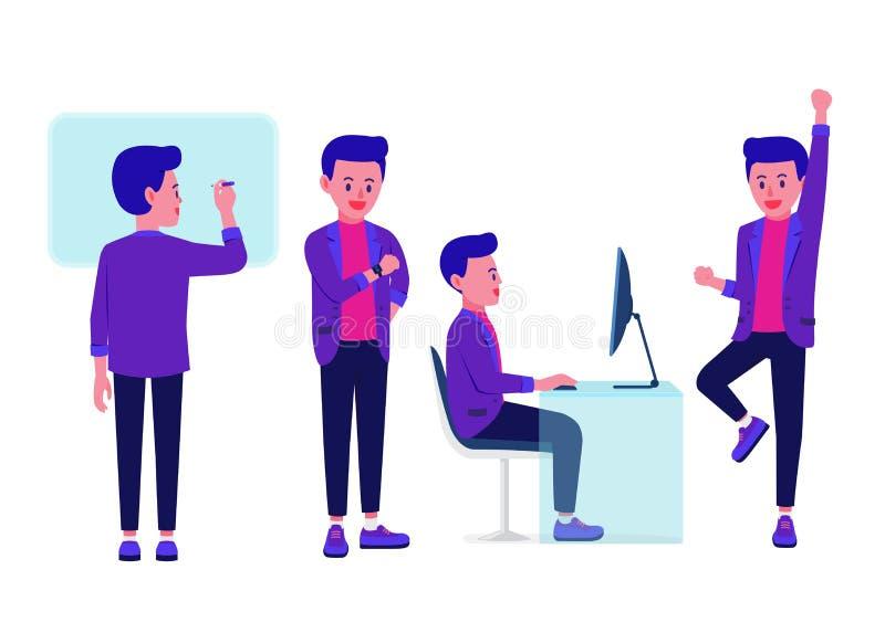 Homem de negócios que olha relógios de pulso e que usa o computador e o salto com placa branca feliz e escrevendo ilustração stock